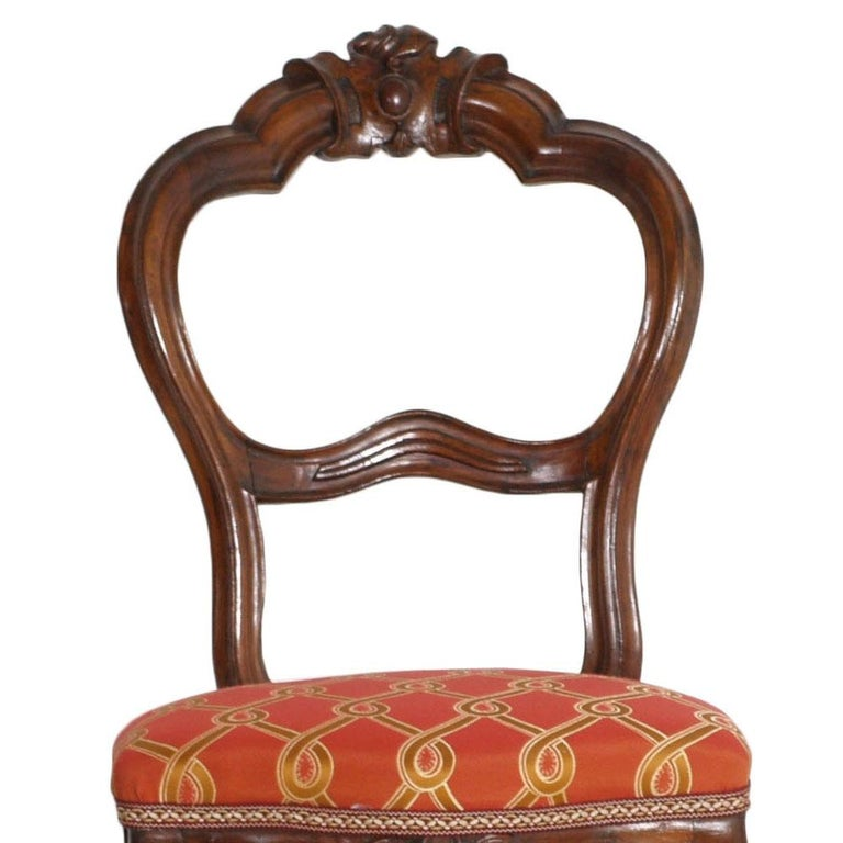 Italian Baroque Louis Philippe Side Chairs or Slipper Chairs in Walnut, Restored For Sale 5