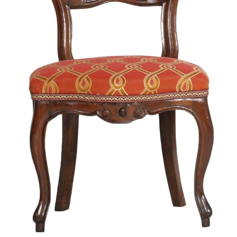 Italian Baroque Louis Philippe Side Chairs or Slipper Chairs in Walnut, Restored For Sale 6
