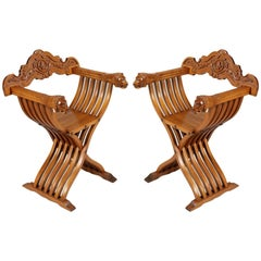 Renaissance Savonarola Pair of Chairs in Carved Blond Walnut, circa 1920s