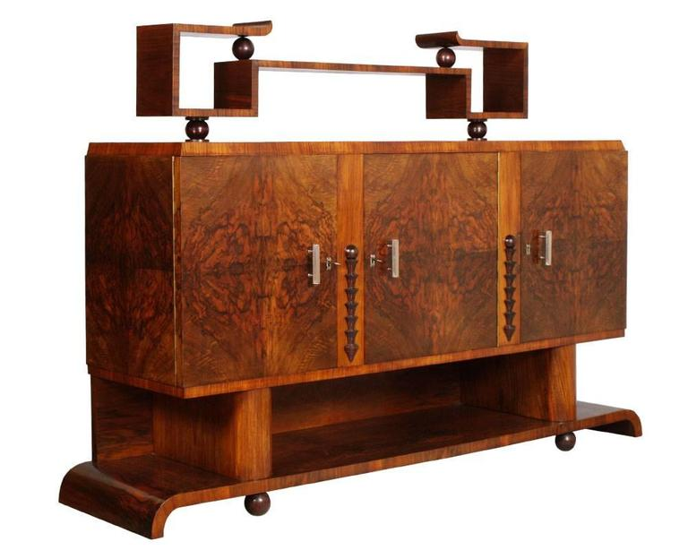 1930s Italian Art Deco Dining Room Suite Set Osvaldo Borsani In Burl Walnut Good Condition