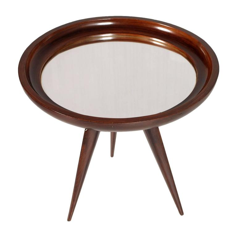 Awesome centre, coffee or side mirrored table in mahogany attribuited to Ico Parisi of the 1940s