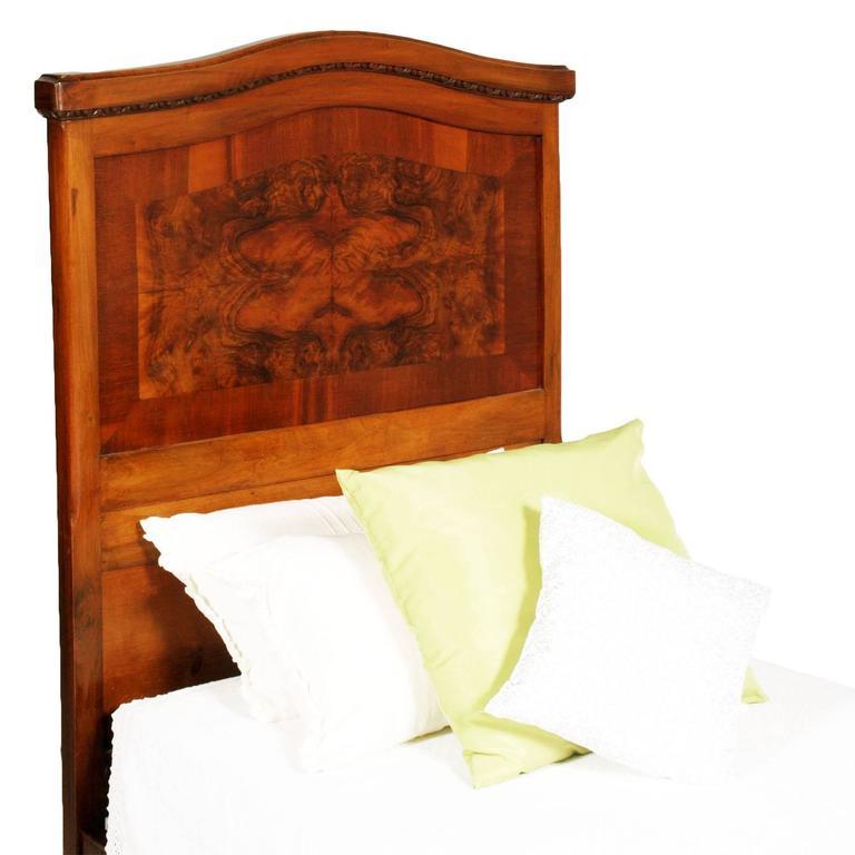 Art Nouveau Walnut 3 Piece Bedroom Suite: 1920s, Antique Italian Art Nouveau Single Beds In Walnut