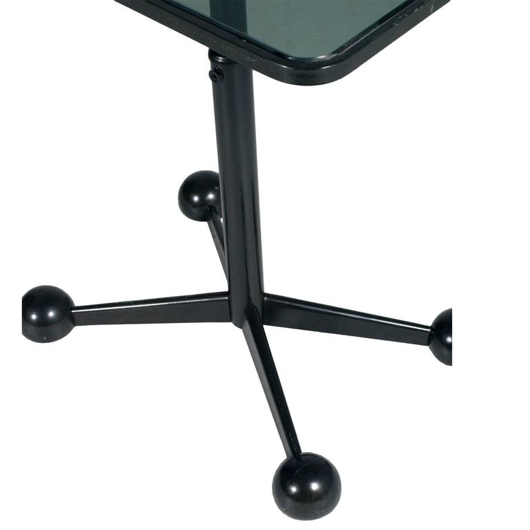 Italian Modern Bar Cart or Side Coffee Rolling Table Adjustable Height Design Allegri For Sale