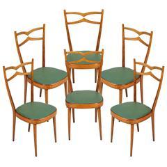Mid-Century Set of Six Chairs Carlo di Carli Style Blond Walnut and Leatherette