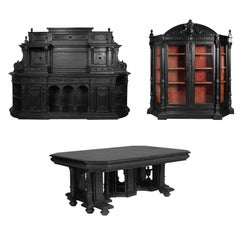 18th Century Renaissance Palladio Dining Room Set in Ebonized Carved Walnut