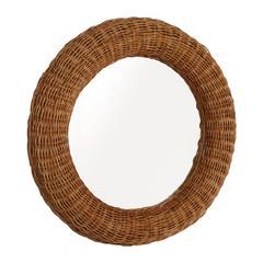 Mid-Century Modern Bamboo & Rattan Circular Mirror Franco Albini Style, Bonacina