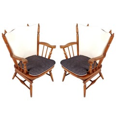 1930s Pair of Chestnut Chiavari Rocking Chairs with Springs
