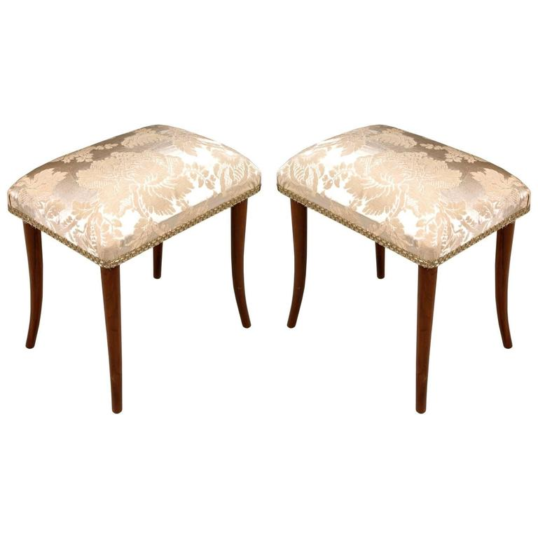 pair of footrest pouf stools in walnut art deco restored new upholstered seats for sale at 1stdibs. Black Bedroom Furniture Sets. Home Design Ideas