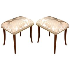 Pair of Footrest Pouf Stools in Walnut Art Deco Restored, New Upholstered Seats