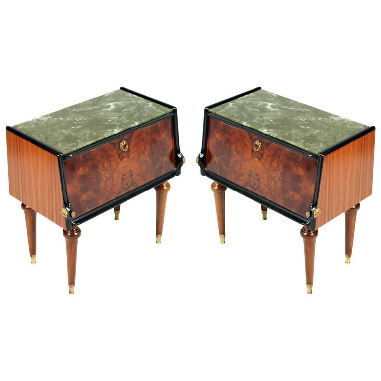 Pair of Burl Walnut Nightstands by Paolo Buffa, Art Deco Cream Interior Veneered