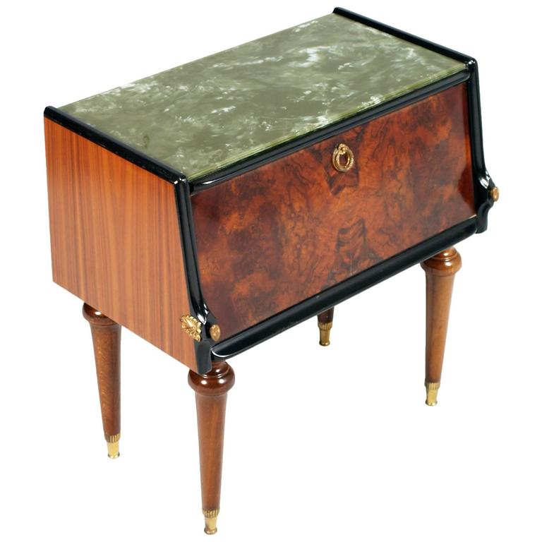Fabulous pair of Art Deco burl walnut and mahogany bedside tables, with top glass decorated green marble effect, cream-colored interior veneer.