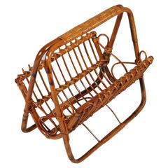Mid-Century Bamboo and Rattan Magazine Rack, Attributable Franco Albini