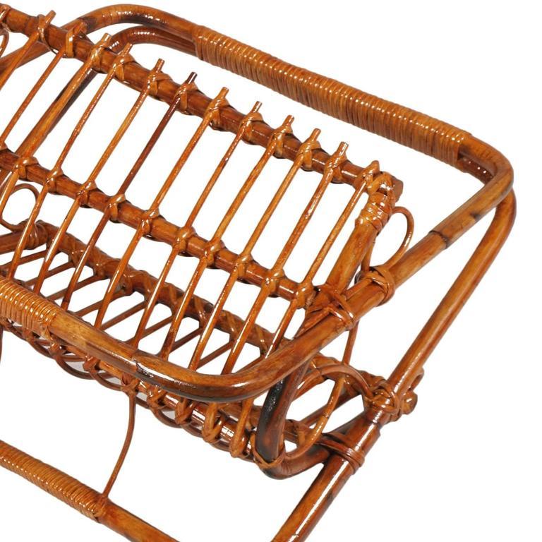 Italian Midcentury Bamboo and Rattan Magazine Rack, Franco Albini Manner For Sale