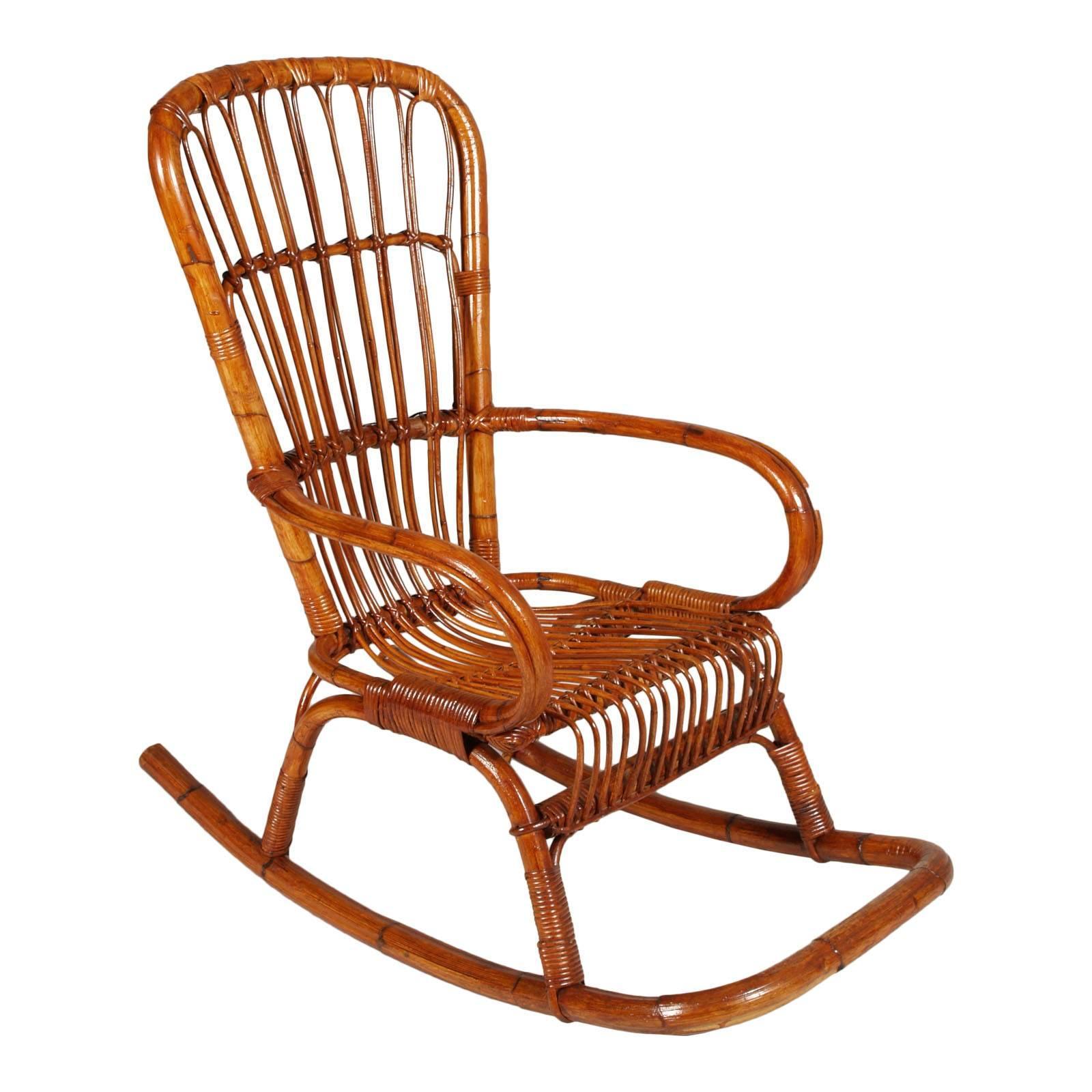 Italian Mid Century Modern Bamboo Rocking Chair Attributable Vittorio  Bonacina For Sale At 1stdibs
