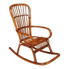 Italian Mid-Century Modern Bamboo Rocking Chair Attributable Vittorio Bonacina