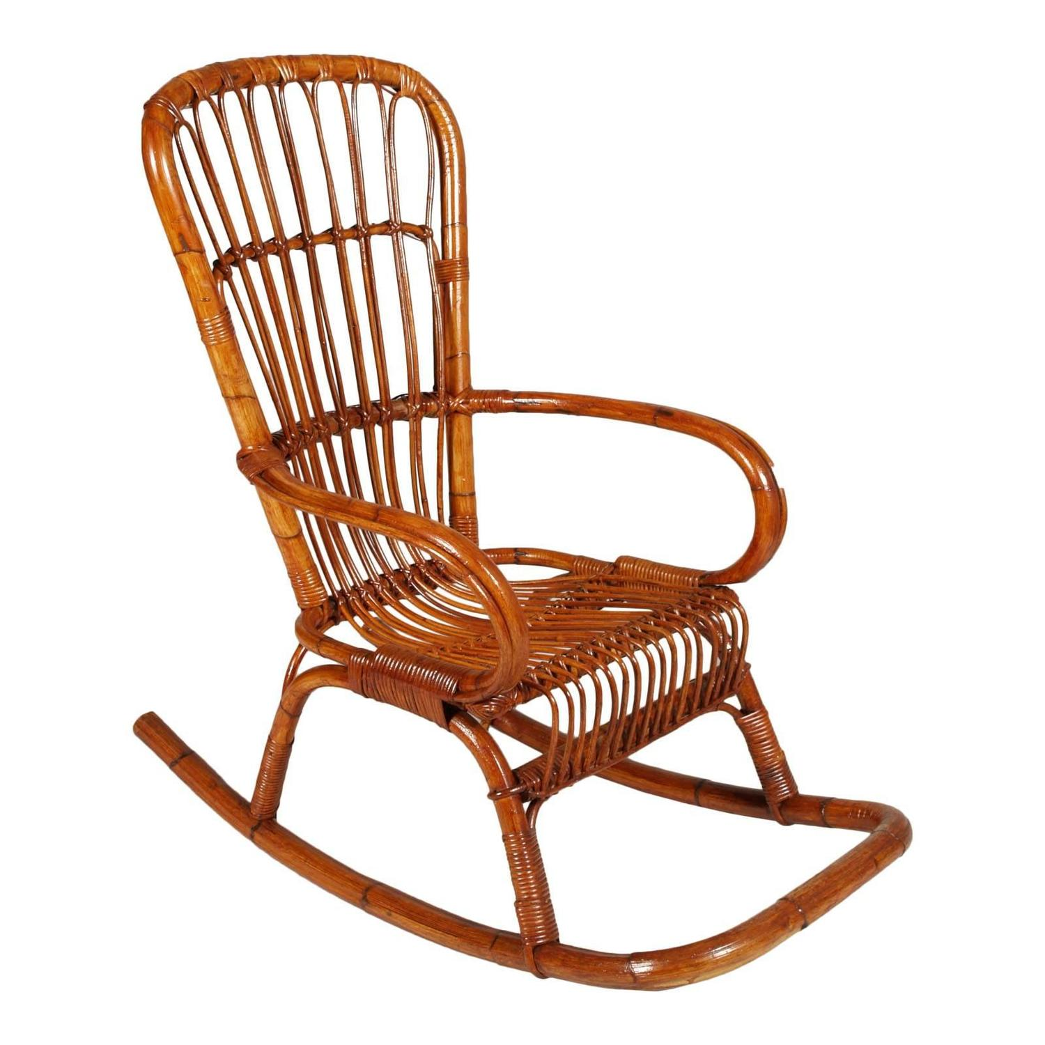 italian mid century modern bamboo rocking chair attributable