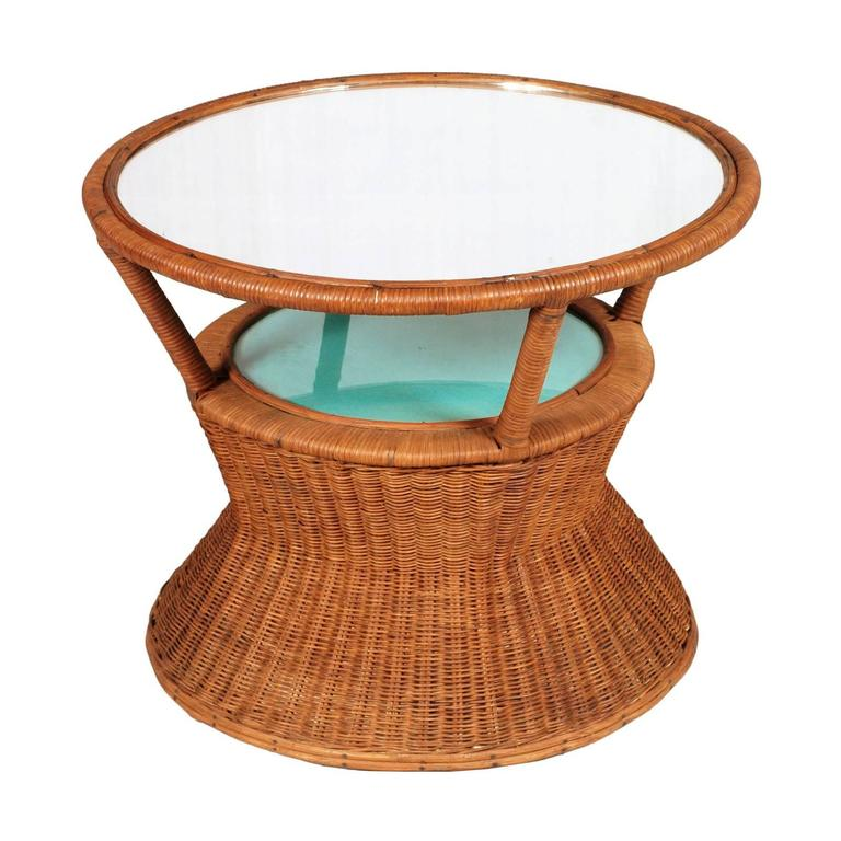 Bamboo and Raffia Coffee Table with Mirror Attributed to Franca Helg For Sale