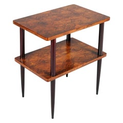 1930s Art Deco Two Tops Table in Burl Walnut, Pointed Legs Mahogany Tinted
