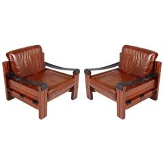 Pair of Italian Armchairs, Massive Wood, Genuine Leather by Afra e Tobia Scarpa