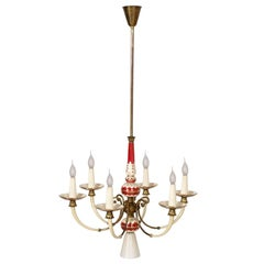 Art Deco Six-Light Florence Chandelier Gold Decorated Porcelain Enameled Brass