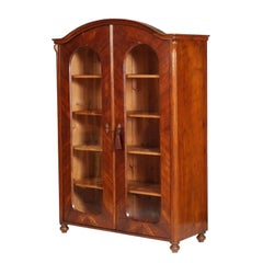 19th Century Biedermeier Bookcase Wardrobe Walnut Restored and Finished to Wax