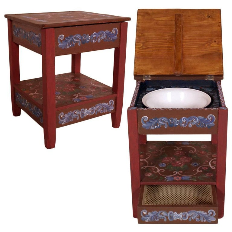 19th Century Tyrolean Toilet Bedside Table Original Hand