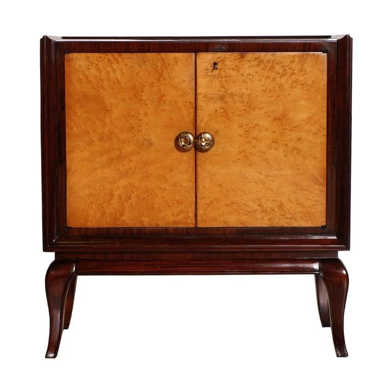 Appliqué 1930s Art Deco Dry Bar Cabinet, Mahogany, Burl Elm, Mirror Internal, Glass Top For Sale