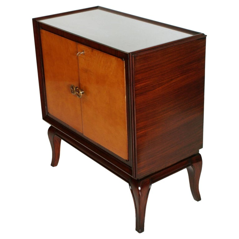 Italian 1930s Art Deco Dry Bar Cabinet, Mahogany, Burl Elm, Mirror Internal, Glass Top For Sale