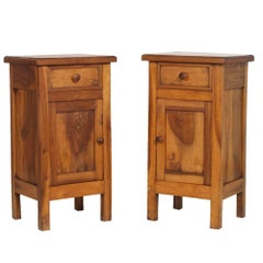 Italian 2 Nightstand Last 19th Century in Solid Walnut, Restored Polished to Wax