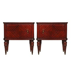 Early 20th Century Italian Neoclassical Pair of Nightstands in Mahogany
