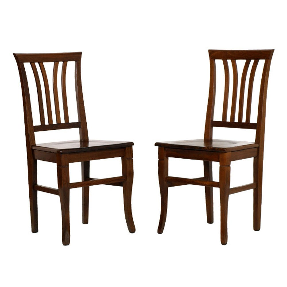 Italy Mid-Century Modern Pair of Chairs, Solid Walnut Polished to Wax from Asolo