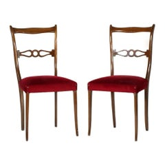 Pair of Mid-20th Century Lacquered Walnut Side Chairs Melchiorre Bega Attributed
