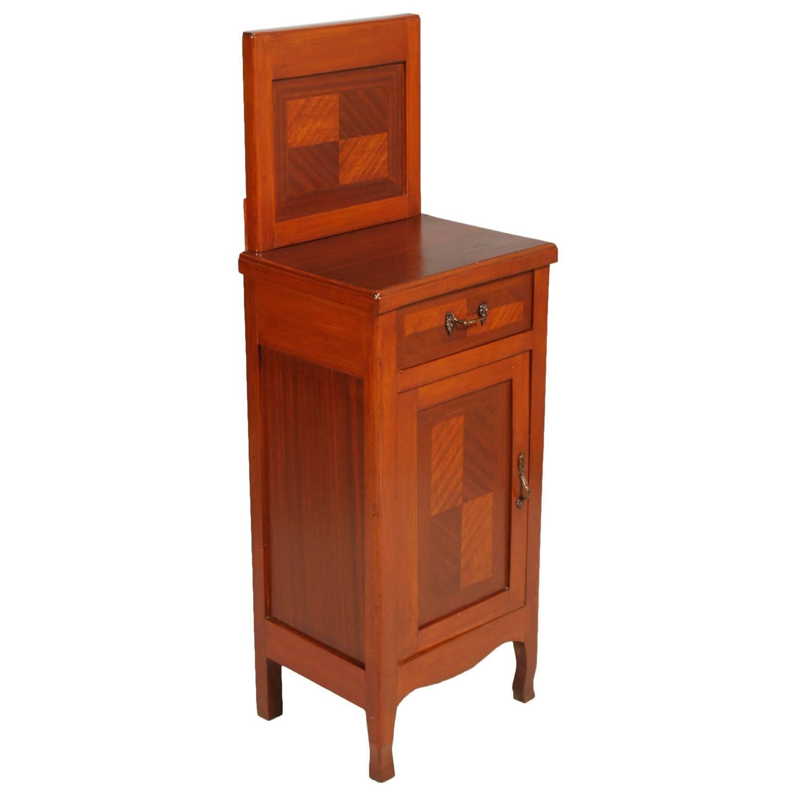 Early 20th Century Italian Art Nouveau Nightstand Restored and Polished to Wax