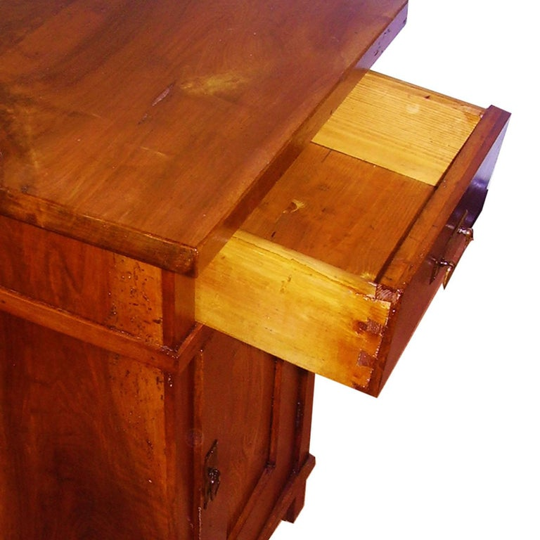 1890s Country Bedside Table Nightstand, Art Nouveau, Solid Cherrywood, Restored In Excellent Condition For Sale In Vigonza, Padua
