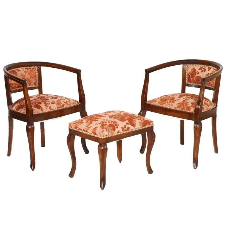 Fabric 1900s Italy Pair of Bedroom Armchairs Art Nouveau with Stool Hand-Carved Walnut For Sale