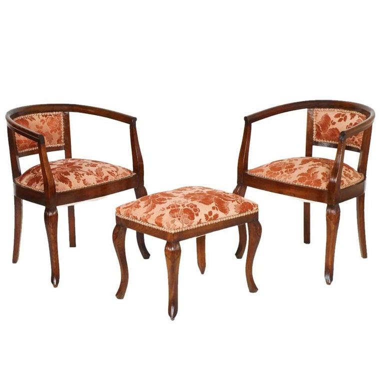 Art Nouveau Walnut 3 Piece Bedroom Suite: 1900s Italy Pair Of Bedroom Armchairs Art Nouveau With