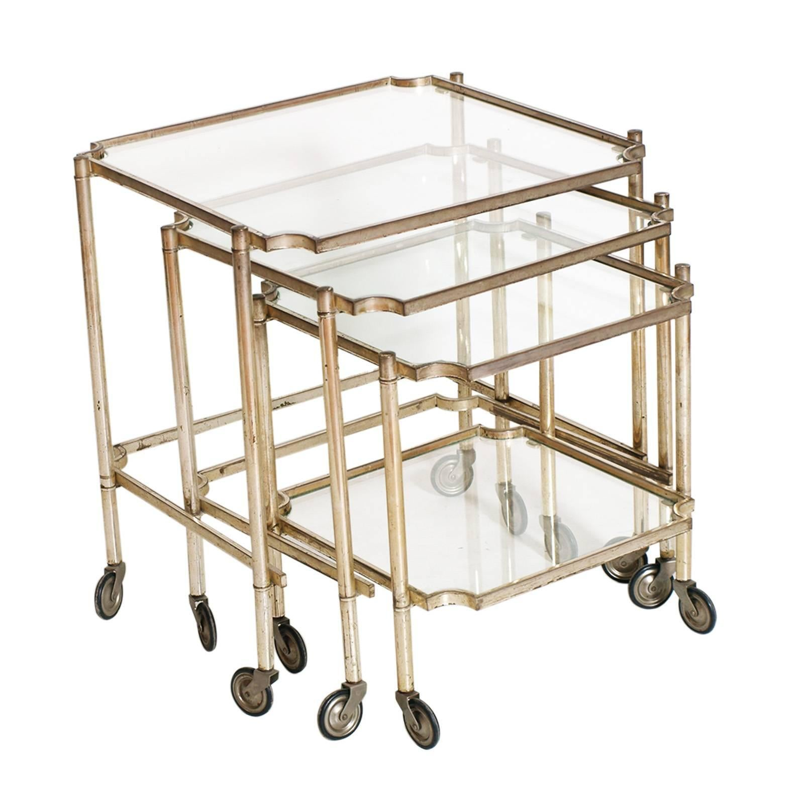 1930s Italy Neoclassic Silver Brass Rolling Nesting Tables, Maison Jansen  Style