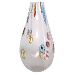 1950s Italian Venetian Blown Murano Glass Vase with Murrine by Gino Cenedese