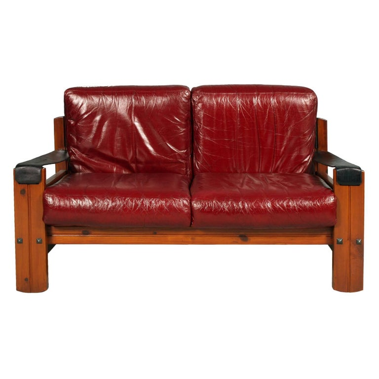 They can be sold separately 1960s Leaving room set in massive Wood, real leather, attributed to Afra and Tobia Scarpa  designers These are particular famous and fabulous complete set for living room of widespread fashion in the 60s, in massive wood,
