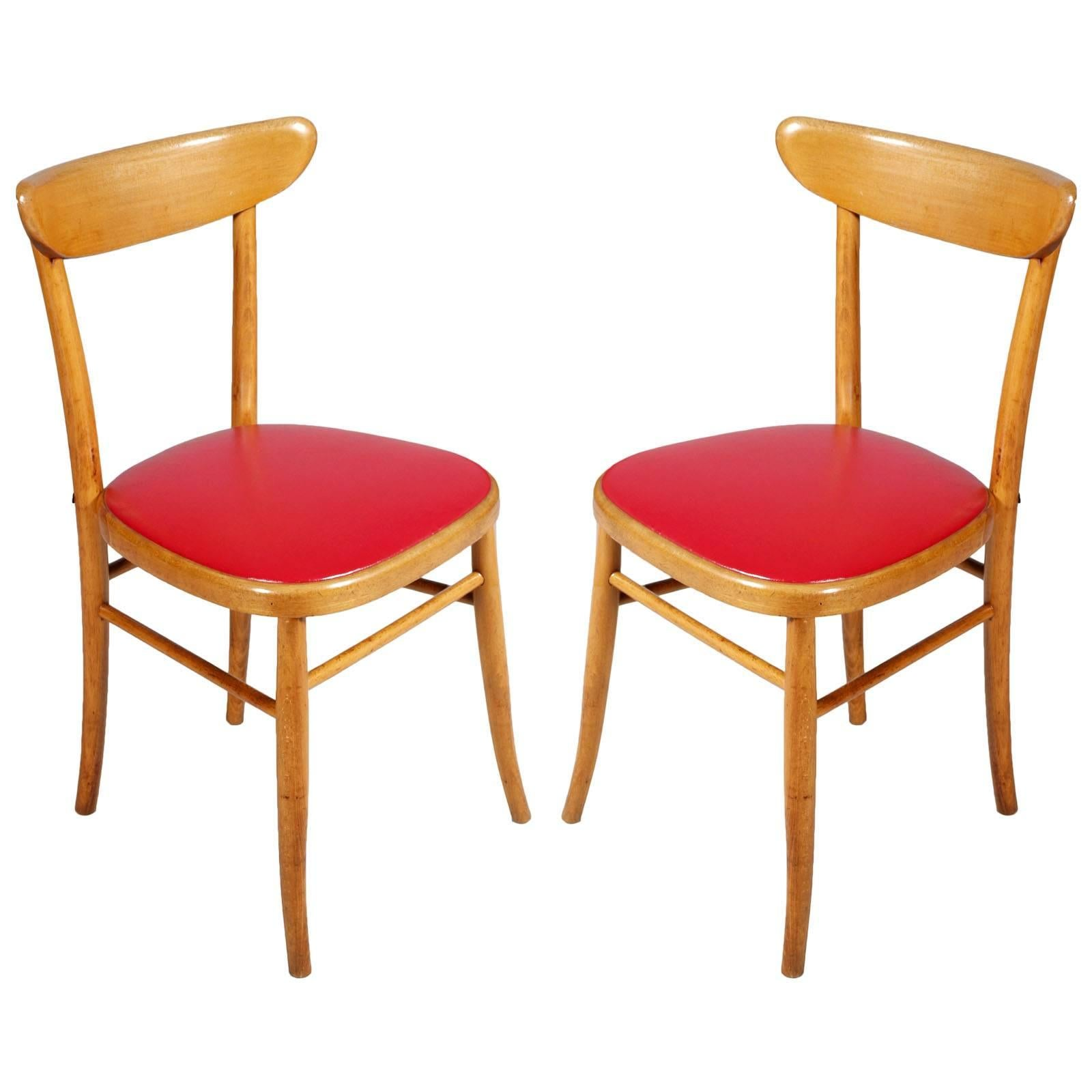 Pair of Italian Midcentury Side Chairs Hans J Wegner manner