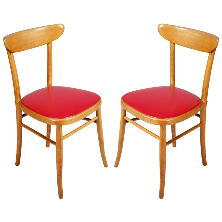 Pair of Italian Modernist Midcentury Side Chairs Hans J Wegner Style