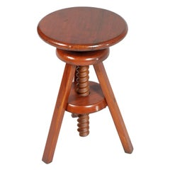 Mid-20th Century Tyrolean Adjustable Tripod Stool, in Larch Polished to Wax