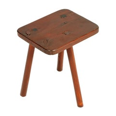 Old Country Tripod Stool Milk Cow in Chestnut Wood, Restored, Polished with Wax