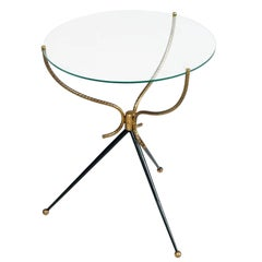 1930s Gio Ponti Style Tripod Coffee Table, Gilt and Lacquered Brass, Cristal Top