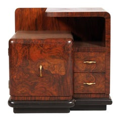 Italian 1920s Art Deco Nighstand Walnut And Burr Red Wax Polished
