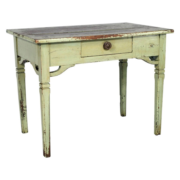 Late 19th Century Tyrolean Shabby Small Desk Table Art Nouveau Pine Painted
