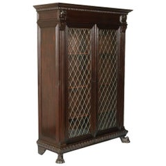 Early 20th Century Italian Renaissance Bookcase, Carved Walnut Finished to Wax