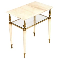 1910s Venetian Coffee Table Nightstand Laquered Wood, Gilt Brass, Pink Onyx Top