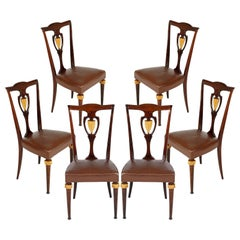 Set Luxury Art Deco Chairs Vittorio Dassi Lissone Attributed, Mahogany & Leather