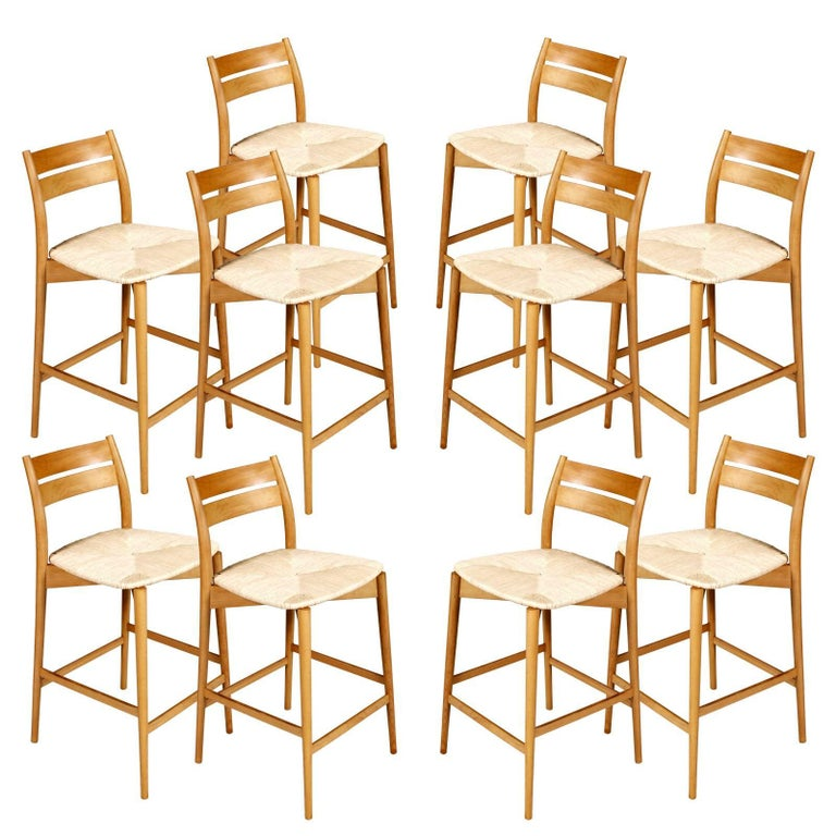 Vintage 1960s Stools Height Bar Chairs, Gio Ponti Manner, Turned Beech and Straw